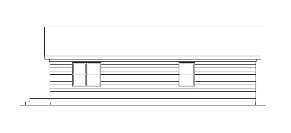 Ranch , Rear Elevation of Plan 97218