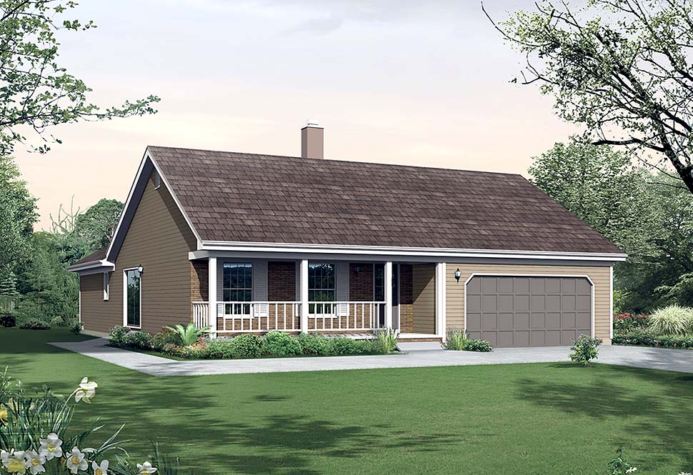 Cottage , Country House Plan 97221 with 3 Beds, 2 Baths, 2 Car Garage Elevation