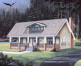 Bungalow , Country House Plan 97224 with 3 Beds, 3 Baths Elevation