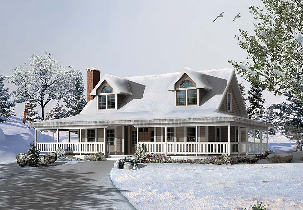 Cape Cod, Country House Plan 97225 with 3 Beds, 3 Baths Elevation