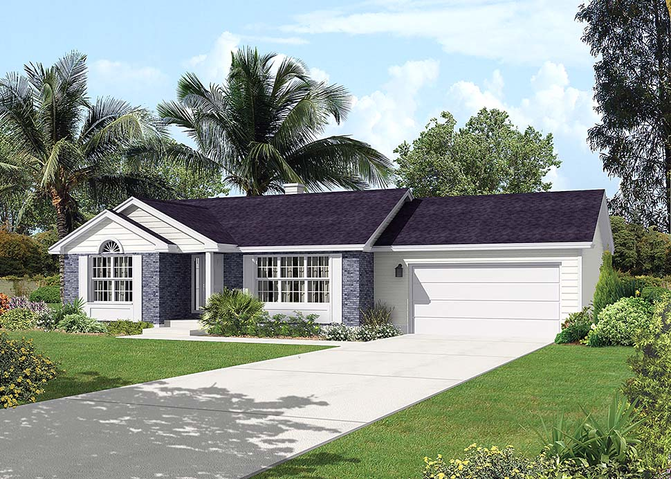 Traditional , Ranch House Plan 97228 with 2 Beds, 1 Baths, 2 Car Garage Elevation