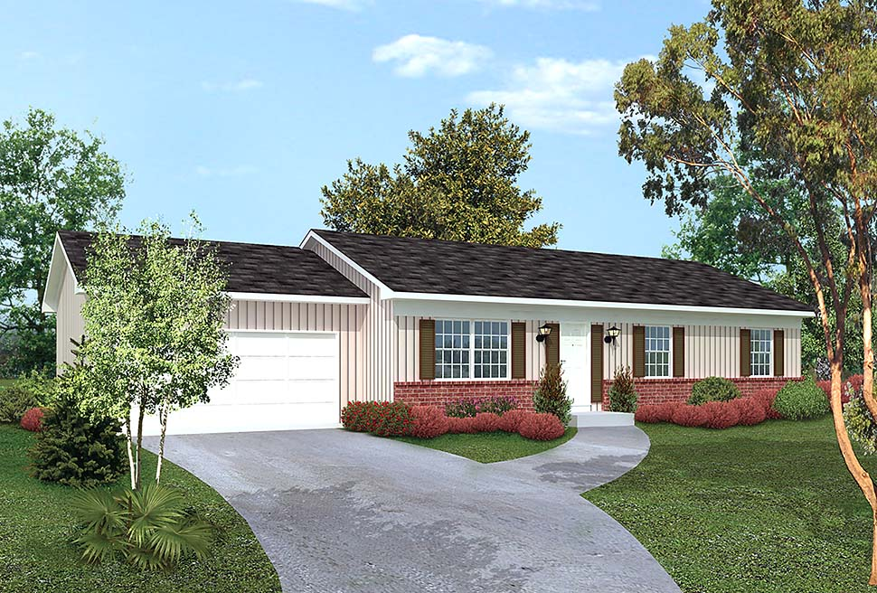 Country, Ranch, Traditional House Plan 97233 with 3 Beds, 2 Baths, 2 Car Garage Elevation
