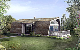 A-Frame , Contemporary , Retro House Plan 97234 with 2 Beds, 1 Baths Elevation