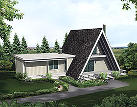 A-Frame Retro House Plan 97237 Elevation