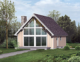 Cabin , Contemporary House Plan 97239 with 2 Beds, 1 Baths Elevation