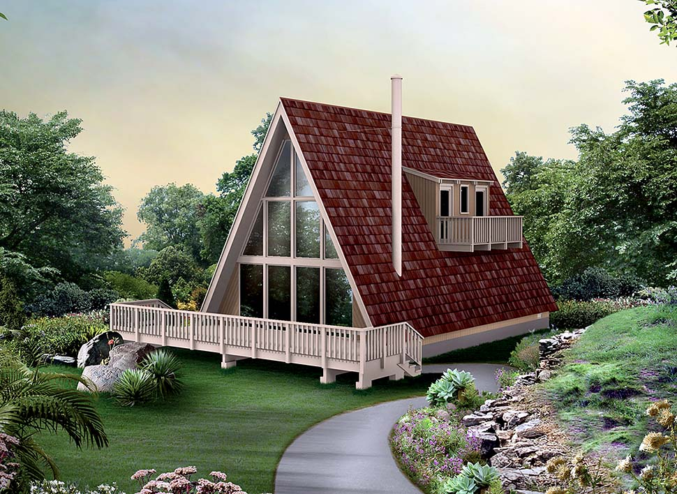 House Plan 97241 | A-Frame Contemporary Cottage Style Plan with 1224 Sq Ft, 3 Bedrooms, 1 Bathrooms Elevation