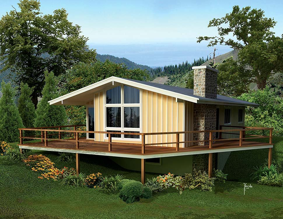 Cabin, Contemporary, Traditional House Plan 97248 with 3 Beds, 2 Baths Elevation