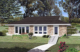 Contemporary , Earth Sheltered , European , French Country , Ranch House Plan 97253 with 3 Beds, 1 Baths Elevation