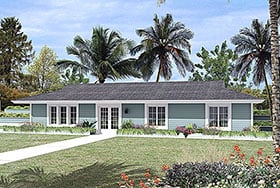 Contemporary , Earth Sheltered , Ranch House Plan 97254 with 3 Beds, 2 Baths Elevation