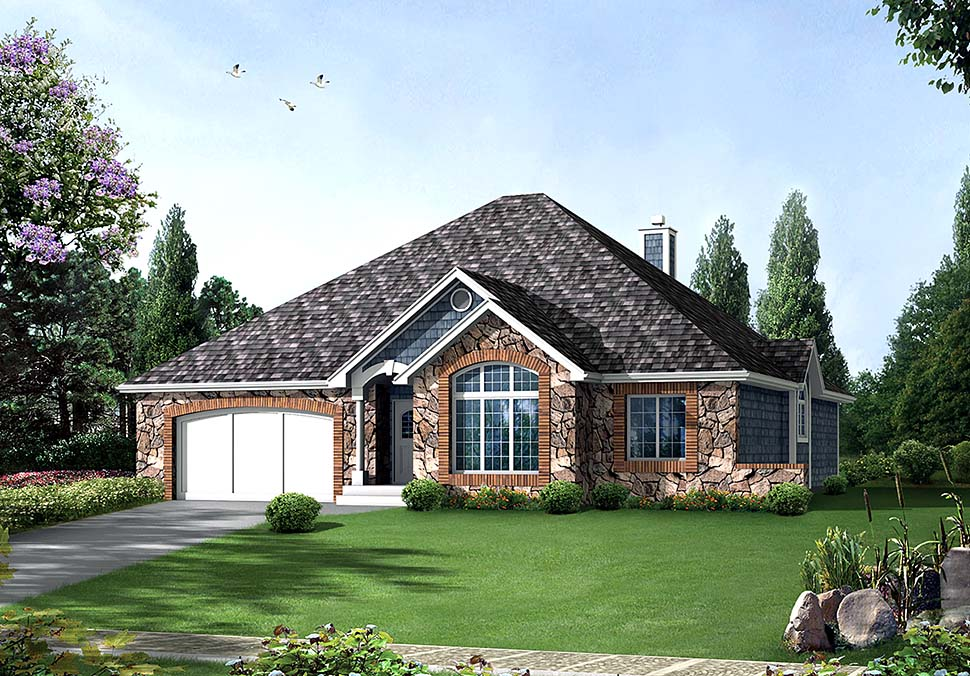 European Ranch Traditional House Plan 97255 Elevation