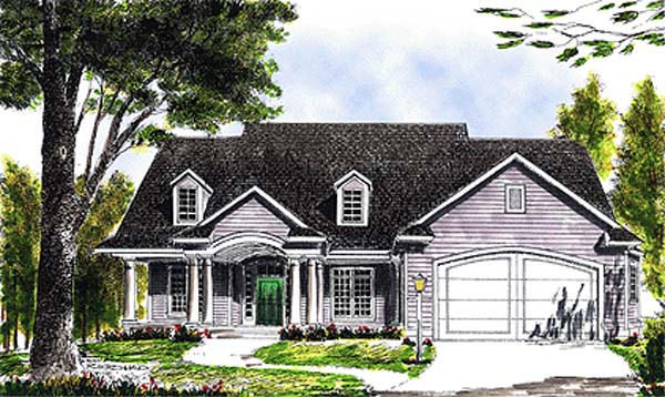 Cape Cod, Colonial, One-Story House Plan 97300 with 3 Beds, 2 Baths, 2 Car Garage Front Elevation