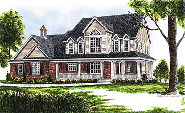 Farmhouse , Country House Plan 97301 with 4 Beds, 3 Baths, 3 Car Garage Elevation