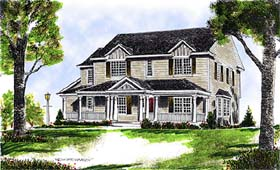House Plan 97302 | Colonial Country Style Plan with 2171 Sq Ft, 4 Bedrooms, 3 Bathrooms Elevation