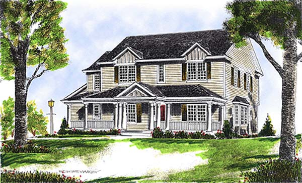 Colonial, Country House Plan 97302 with 4 Beds , 3 Baths Elevation