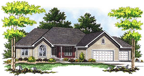 European House Plan 97308 with 3 Beds, 3 Baths, 3 Car Garage Elevation