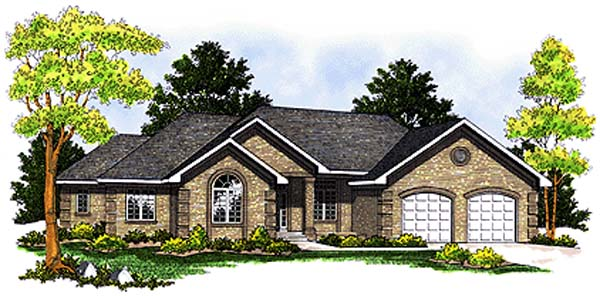One-Story, Traditional House Plan 97309 with 3 Beds, 3 Baths, 2 Car Garage Elevation