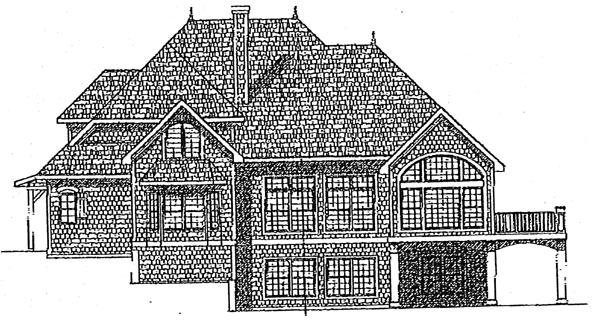 Victorian , European House Plan 97313 with 4 Beds, 3 Baths, 3 Car Garage Rear Elevation