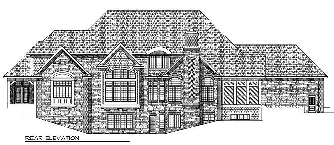 European , Tudor House Plan 97316 with 4 Beds, 6 Baths, 4 Car Garage Rear Elevation
