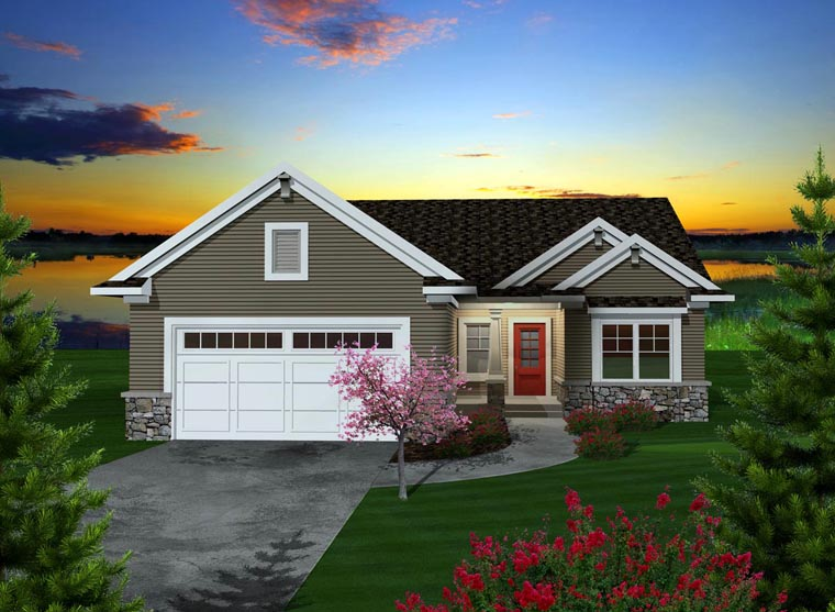 Ranch House Plan 97318 with 2 Beds, 2 Baths, 2 Car Garage Elevation