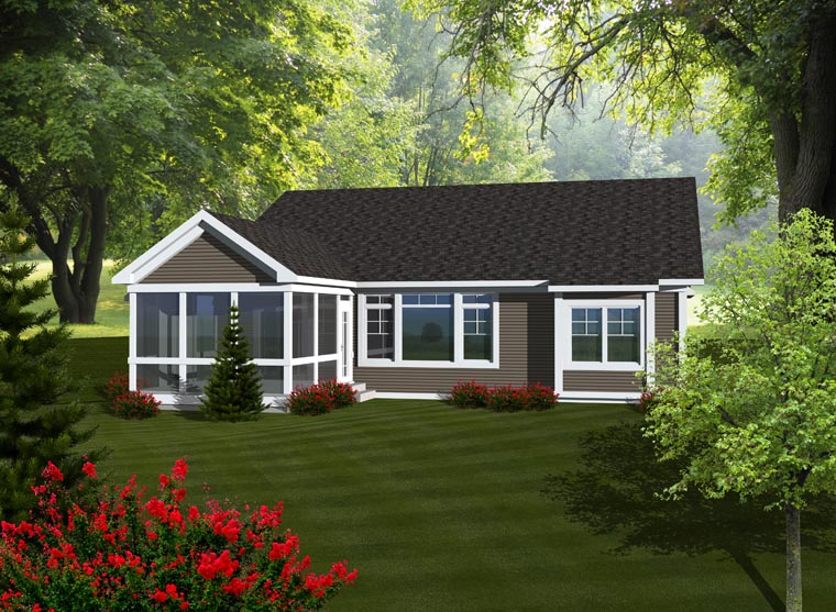Ranch House Plan 97318 with 2 Beds, 2 Baths, 2 Car Garage Rear Elevation