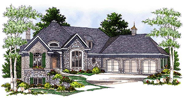 House Plan 97322 | Bungalow European Style Plan with 5079 Sq Ft, 5 Bedrooms, 4 Bathrooms, 3 Car Garage Elevation