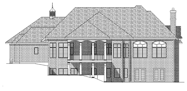 House Plan 97322 | Bungalow European Style Plan with 5079 Sq Ft, 5 Bedrooms, 4 Bathrooms, 3 Car Garage Rear Elevation