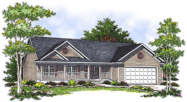 One-Story, Ranch House Plan 97331 with 3 Beds, 2 Baths, 2 Car Garage Elevation