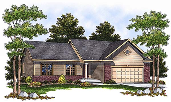 One-Story Ranch Elevation of Plan 97332