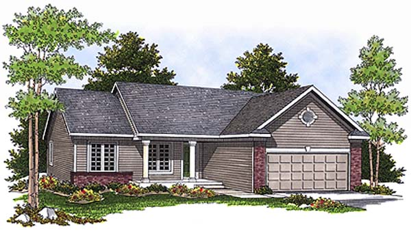 House Plan 97334 | Ranch Traditional Style Plan with 1295 Sq Ft, 3 Bedrooms, 2 Bathrooms, 2 Car Garage Elevation