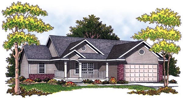 One-Story Ranch Elevation of Plan 97337
