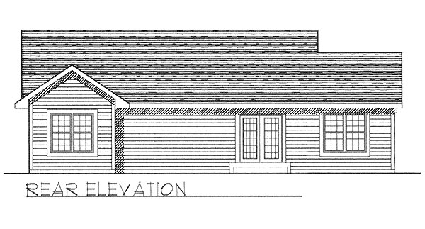 One-Story Ranch Rear Elevation of Plan 97337
