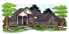 Colonial , European House Plan 97342 with 4 Beds, 4 Baths, 4 Car Garage Elevation