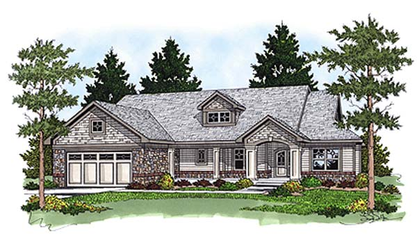 Bungalow, One-Story, Ranch House Plan 97353 with 3 Beds, 2 Baths, 2 Car Garage Elevation