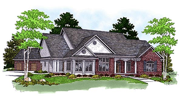 Traditional House Plan 97354 with 4 Beds, 4 Baths, 3 Car Garage Elevation