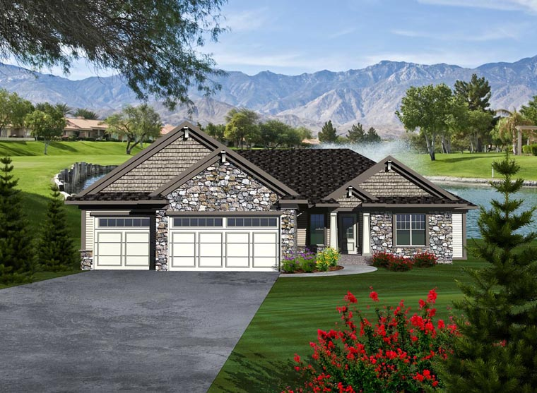 Ranch House Plan 97356 with 3 Beds, 3 Baths, 3 Car Garage Elevation