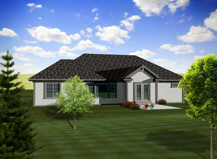 Ranch House Plan 97356 with 3 Beds, 3 Baths, 3 Car Garage Rear Elevation