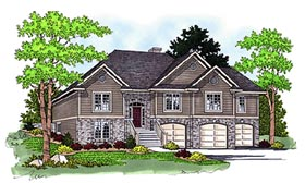 House Plan 97359   Traditional Style Plan with 2819 Sq Ft, 4 Bedrooms, 3 Bathrooms, 3 Car Garage Elevation