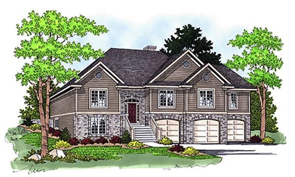 Traditional House Plan 97359 with 4 Beds, 3 Baths, 3 Car Garage Front Elevation