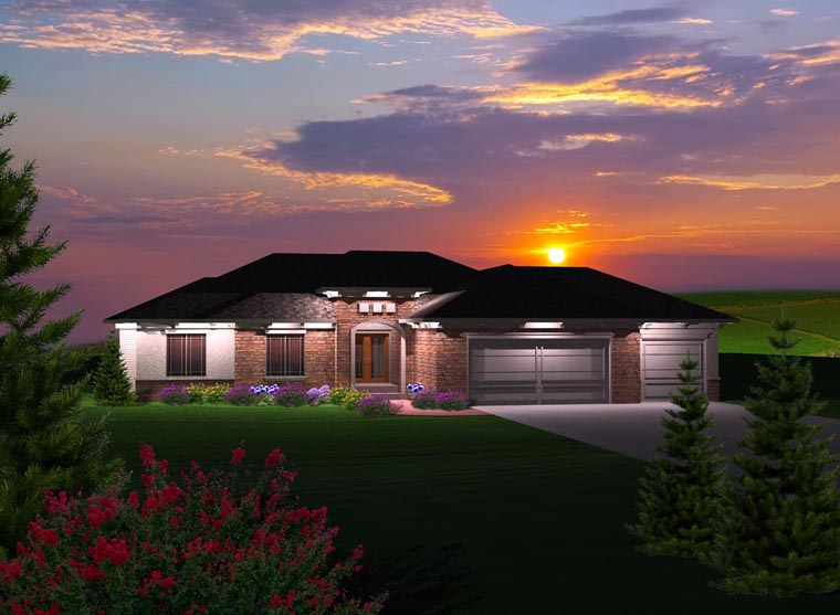 Ranch House Plan 97364 with 4 Beds, 2 Baths, 3 Car Garage Elevation