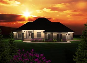 Ranch House Plan 97367 with 3 Beds, 3 Baths, 3 Car Garage Elevation
