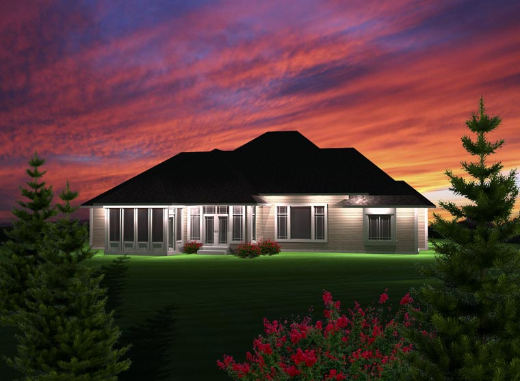 Ranch Rear Elevation of Plan 97367