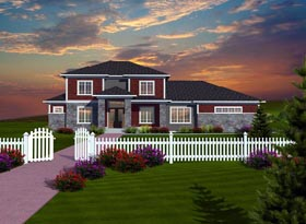 Traditional , Prairie Style House Plan 97376 with 4 Beds, 4 Baths, 4 Car Garage Elevation