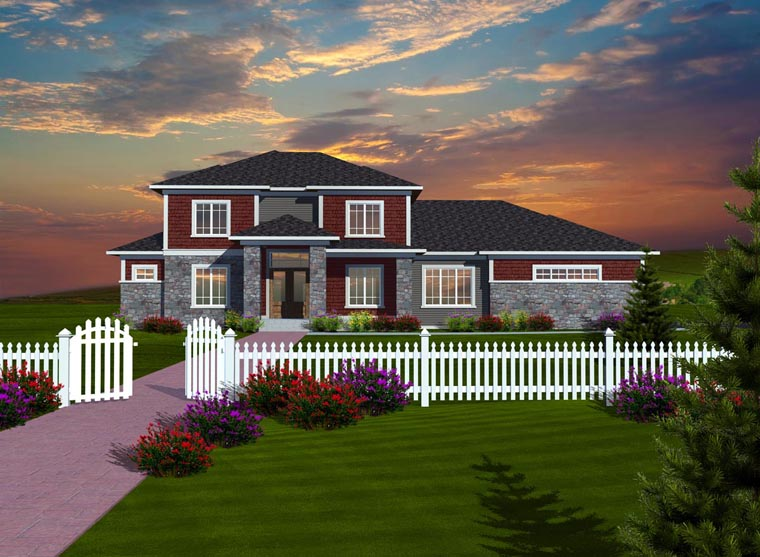 Prairie Style Traditional House Plan 97376 Elevation