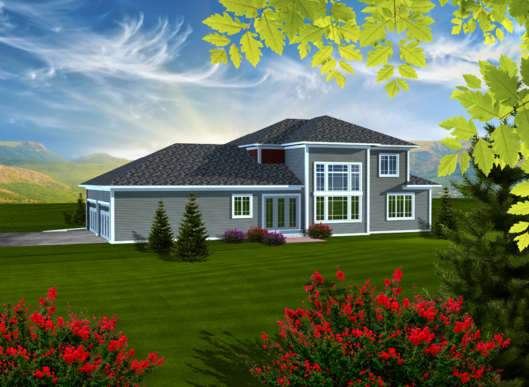 Prairie Style Traditional House Plan 97376 Rear Elevation