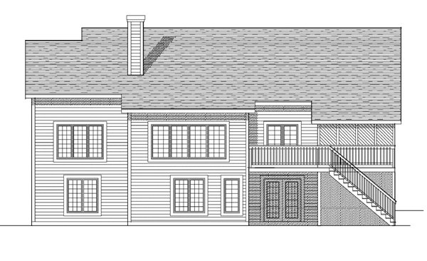 One-Story , Ranch , Rear Elevation of Plan 97382