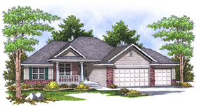 Traditional House Plan 97392 with 4 Beds, 3 Baths, 3 Car Garage Elevation