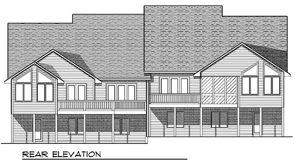 Bungalow Multi-Family Plan 97394 Rear Elevation