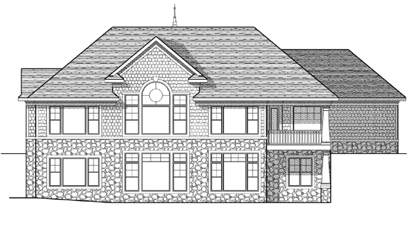 Bungalow European House Plan 97397 Rear Elevation