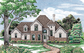 Bungalow European Tudor House Plan 97405 Elevation