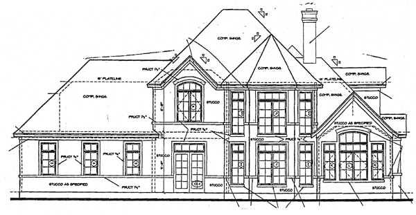 Bungalow European Tudor House Plan 97405 Rear Elevation